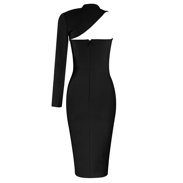 Ilene Black Midi One Sleeve Bandage Dress