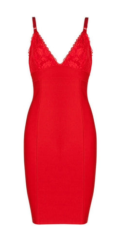 Natalia Red Lace Bustier Bandage Dress