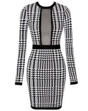 Valeria Black White Long Sleeve Bandage Dress