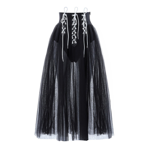 Haylie Lace Up Waist Mesh Black Skirt