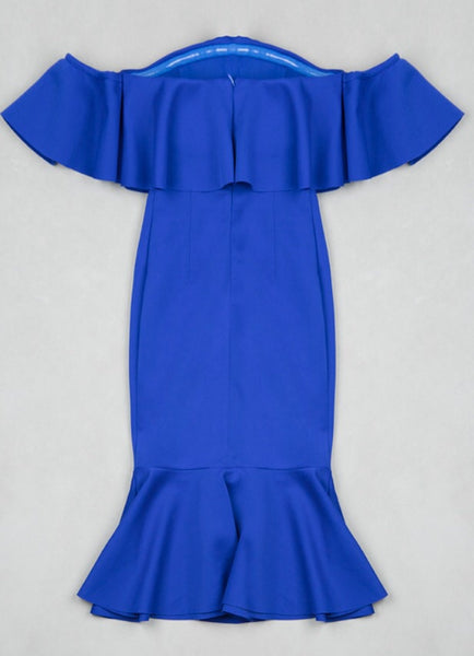 Azalea Blue Ruffle Fluted Midi Dress