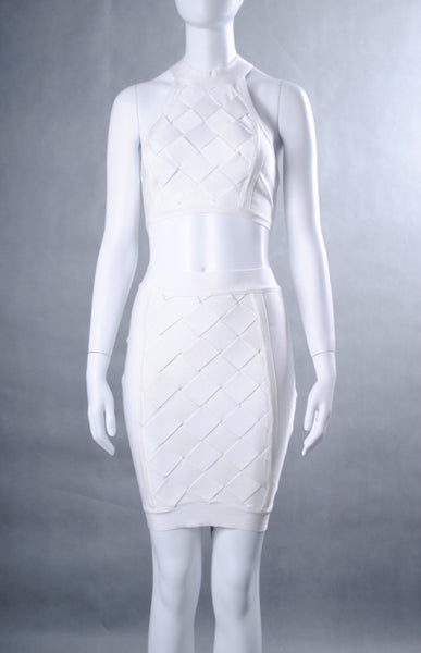 Isela  White Two Piece Bandage Dress