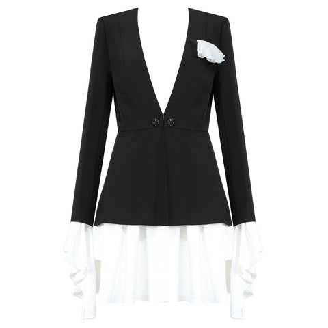 Juliana White Black Two Piece Mini Skirt Suit Set