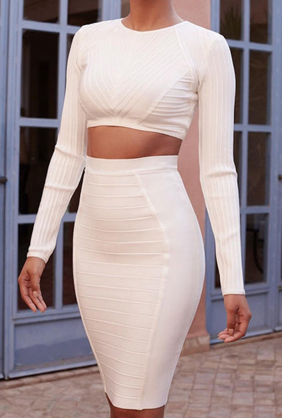 Chelsea White Long Sleeve Bandage Top
