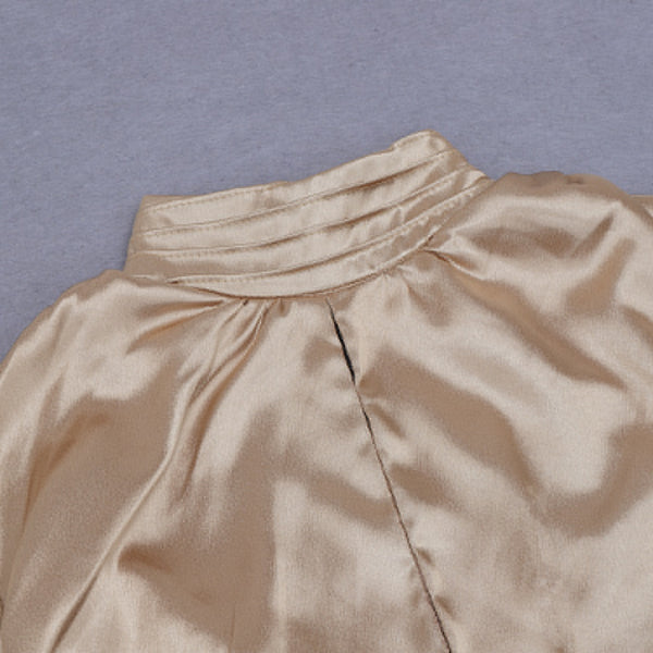 Aislinn Gold Pleated High Neck Satin Mini Dress