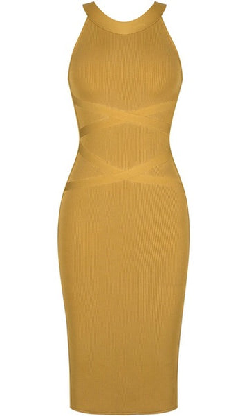 Jaliyah Ribbed Midi Bandage Dress