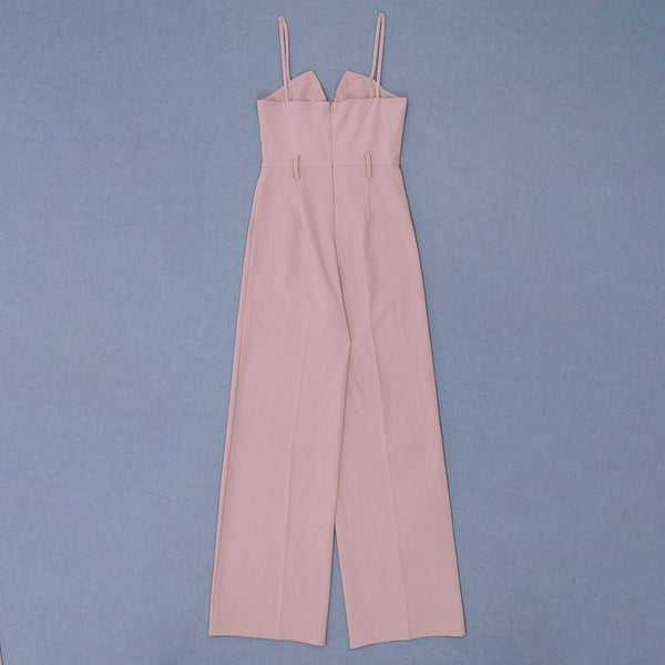 Light Pink Maxi Sleeveless Strap Jumpsuit with Belt