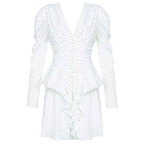 Emery White Frill V Neck Long Sleeve Mini Bodycon Dress