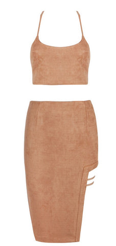 Lorena Brown Suedette Two Piece Dress