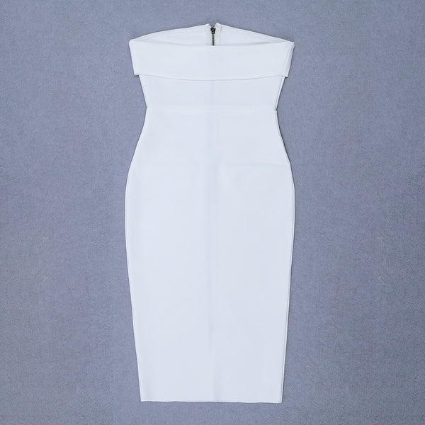 Adelyn Strapless Zip Front Midi Bandage Dress