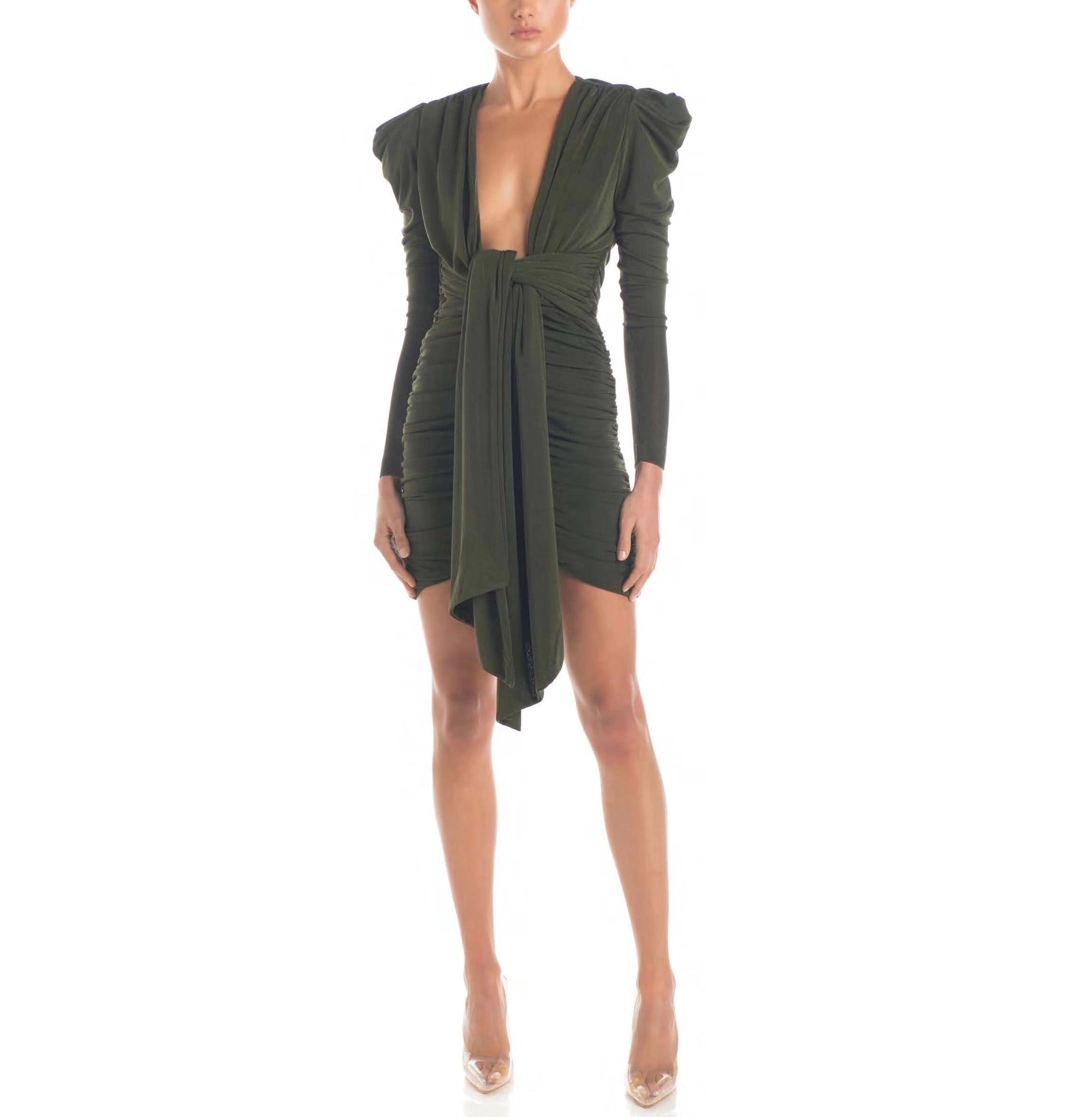 Gwen Green Mesh Mini Long Sleeve Deep V Neck Dress