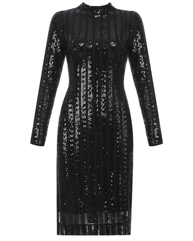 Mylah Black Long Sleeve Sequin Midi Dress