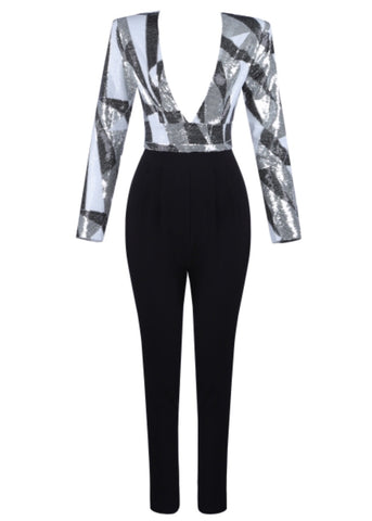 Cadenza Black White Long Sleeve Jumpsuit