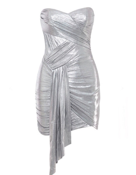 Ensley Sexy Sliver Strapless Mini Party Dress