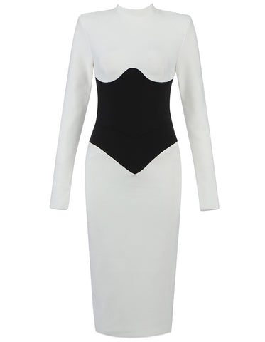Valeria Long Sleeve Black White Corset Detail Dress