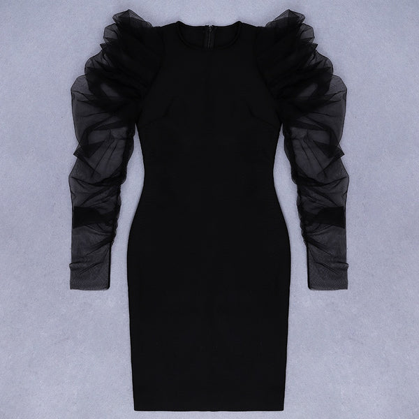 Joanna Mini Black Round Neck Mesh Sleeve Dress