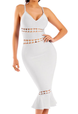 Olesya White Sleeveless Hollow Out Mermaid Dress