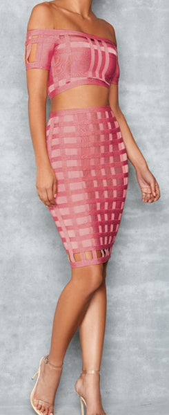 Lilyanne Pink Caged Two Piece Bandage Dress