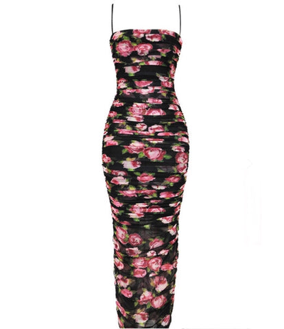 Kiana Black Floral Maxi Sleeveless Dress