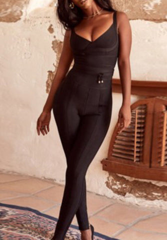Gabi Black Sleeveless Bandage Jumpsuit
