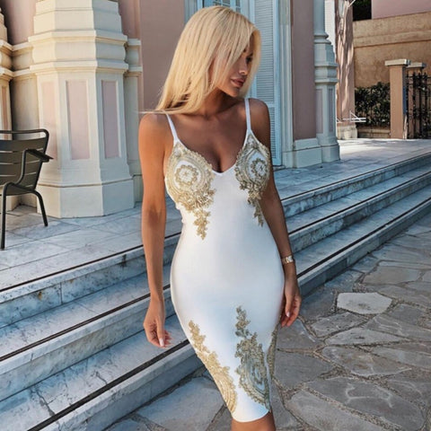Bonnie White Spaghetti Strap Dress