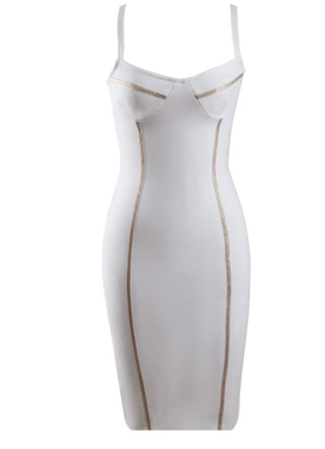 Eleanor White Sleeveless Midi Bandage Dress
