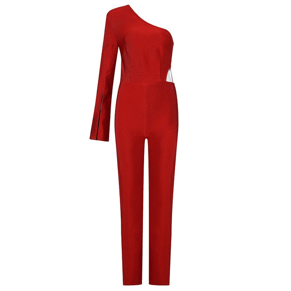 Lorena Red One Shoulder Bandage Long Sleeve Jumpsuit