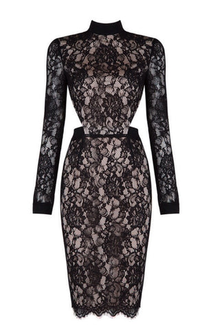 Adeleh  Black Lace Cutout Dress