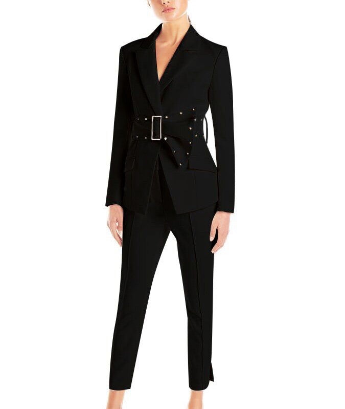 Ellena Black Two Suit Set with Ankle Length Pants