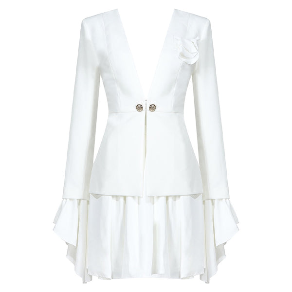 Juliana White Two Piece Mini Skirt Suit Set