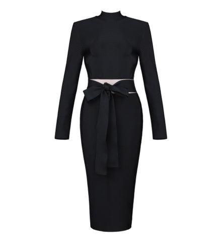 Aylin Black Long Sleeve Midi Dress