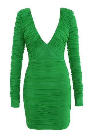 Cassidy Green Long Sleeve Mini Bandage Dress with Mesh