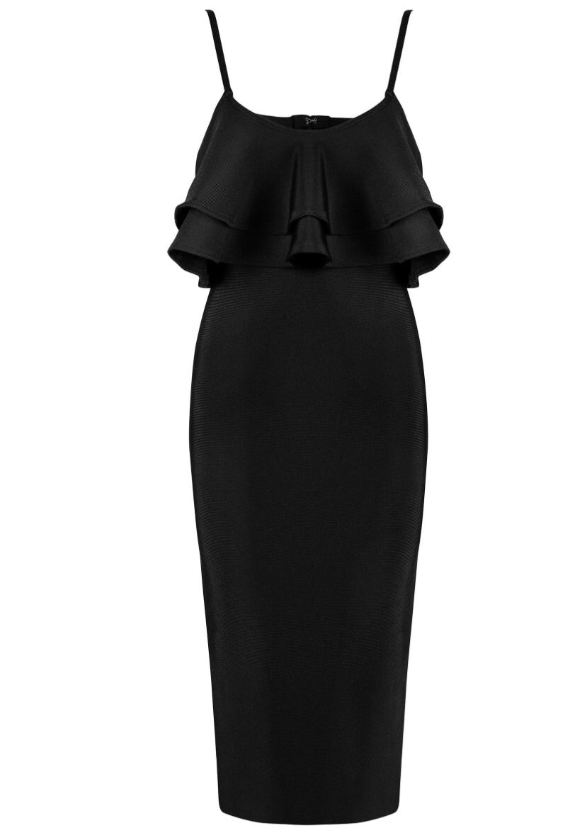 Monika Black Ruffle Bandage Dress
