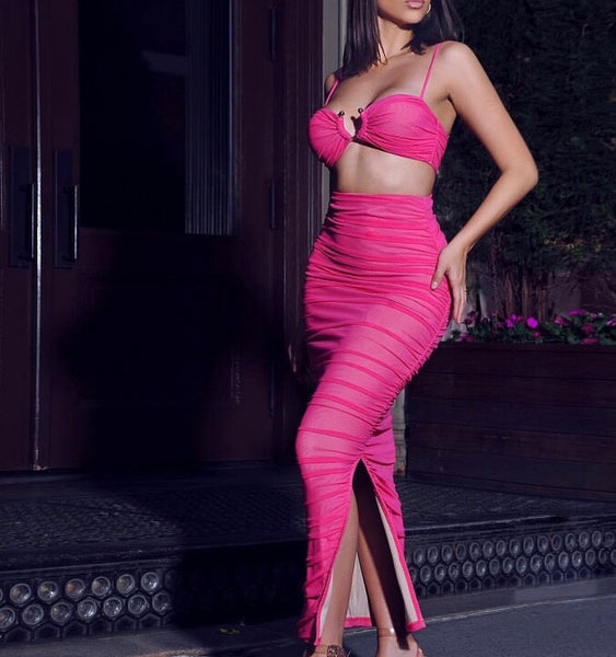 Raven Hot Pinkness Maxi Two Piece Dress