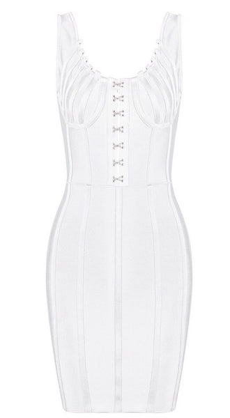 Gail White Stretch Crepe Mini Bandage Dress