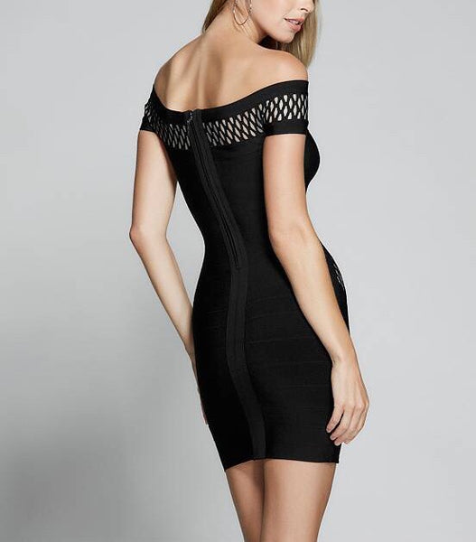 Raina Black Off Shoulder Strapless Mini Dress
