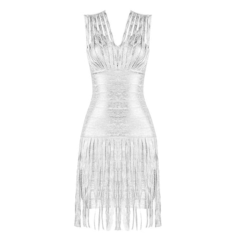 Phenyx Silver Print Tassel Mini Bandage Dress