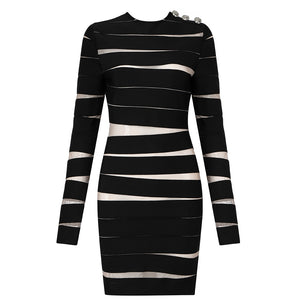Darla Black Long Sleeve Mini Bandage Dress with Mesh
