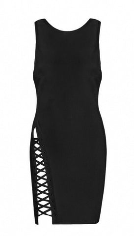 Autumn Black Lace Side Bandage Dress