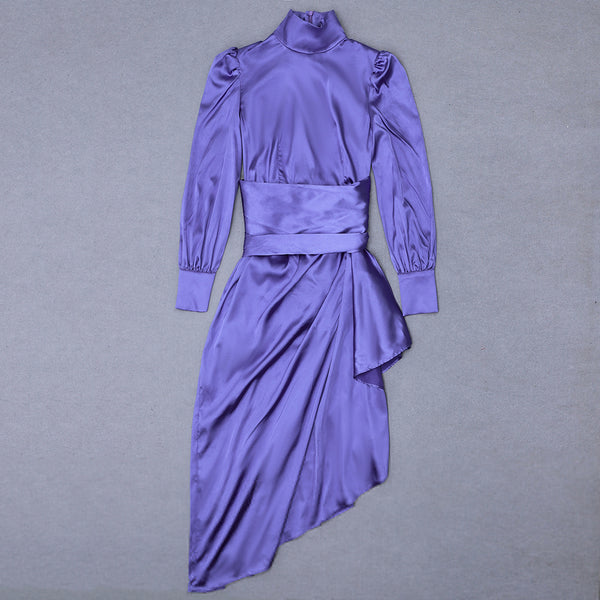 Eliana Purple High Neck Long Sleeve Asymmetrical Frill Dress