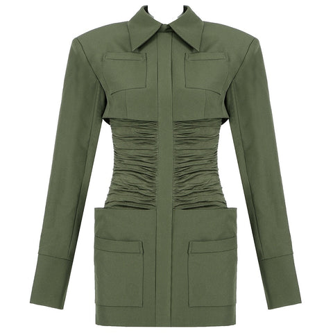 Destiny Green Mini Long Sleeve Dress