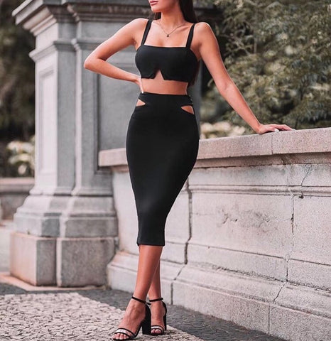 Anya Black Two Piece Set Crop Top with Midi Skirt