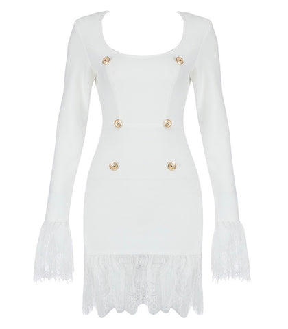 Aaliyah Long Sleeve White Short Dress with Lace Insert