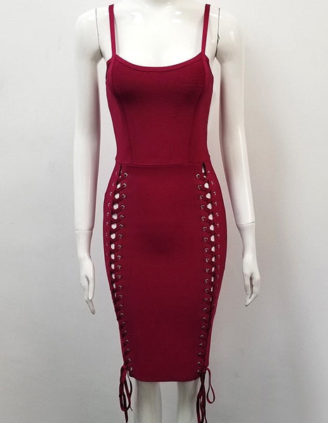 Omorose Wine Red Bandage Dress