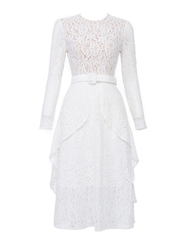 Caroline White Lace Long Sleeve Midi Dress