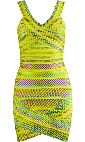 Selah Backless Bandage Dress- Yellow