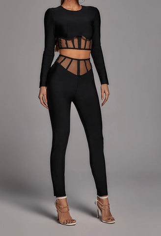 Beatrice Black Structured Long Sleeve Mesh Two Piece Jumpsuit