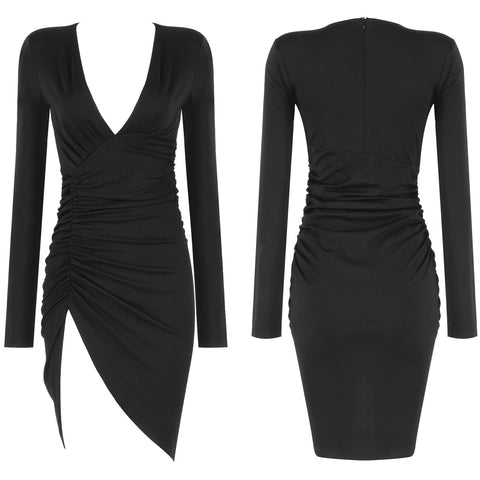 Josephine Black V Neck Mini Long Sleeve Dress
