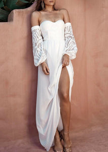 Arianny White Strapless Long Sleeve Dress