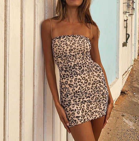 Bristol Mini Leopard Spaghetti Strap Dress